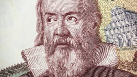 Galileo Galilei portrait on Italy banknote rotating. Genius Italian scientist, mathematician, astronomer, philosopher and inventor, father of modern physics. 4K UHD video footage