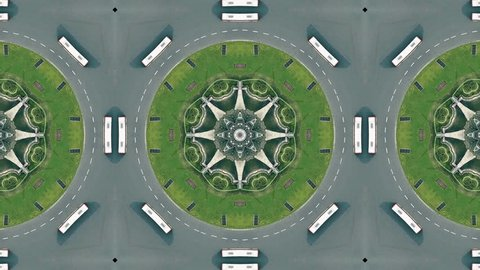 Kaleidoscope effect of aerial view of roundabout traffic in Barcelona, Plaza de Espana