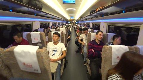 GUANGZHOU, CHINA - CIRCA NOVEMBER 2018 : View inside HIGH SPEED RAILWAY TRAIN (Fuxing train) going from GUANGZHOU SOUTH station to WEST KOWLOON station.