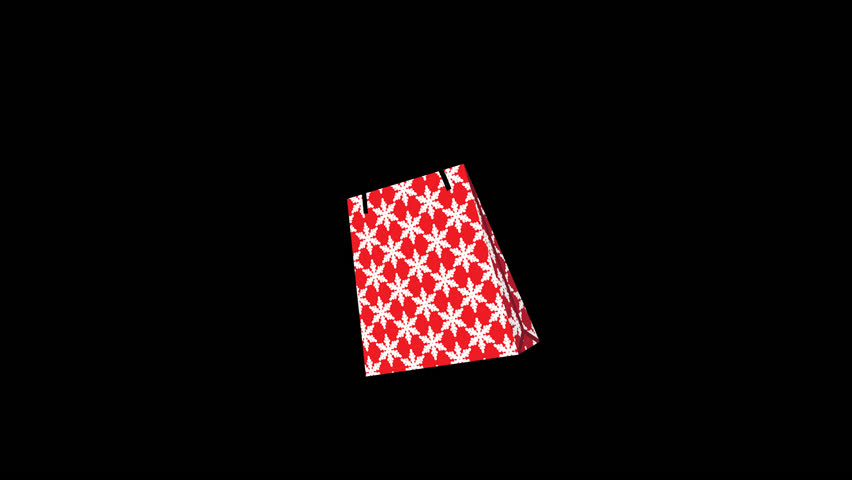 Alpha channel file ,Appeared Shopping bag animation - single object, snowflake pattern red color | Shutterstock HD Video #1020594379