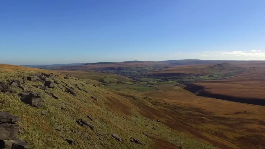 West Yorkshire view of the moors and the Pennine landscape in Northern England   Shutterstock HD Video #1020602959