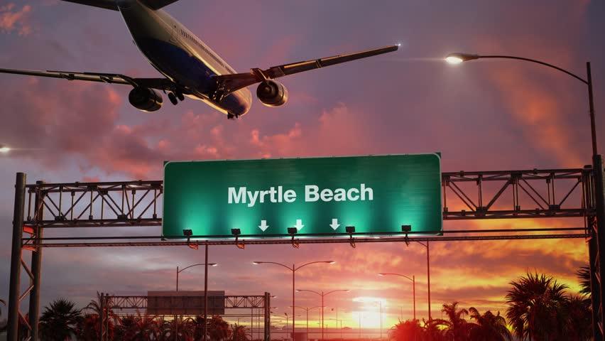 Airplane Landing Myrtle Beach during a wonderful sunrise