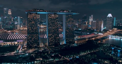 Singapore - AUG 31, 2018: Panoramic aerial shot over marina bay sands, gardens and flyer