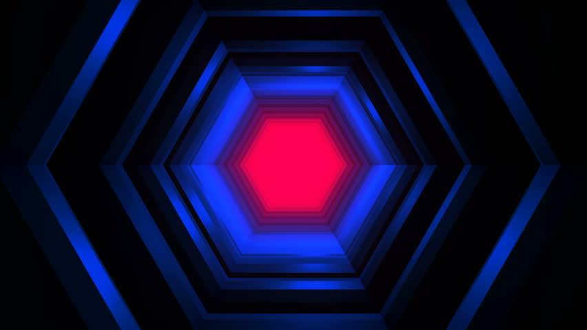 Beautiful Hexagon Tunnel Travel Animation - Futuristic Lights Loop | Shutterstock HD Video #1020787519
