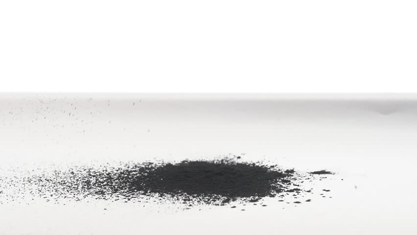 Coal black Powder Falling Against White Background, Slow Motion. painting art process to draw black coil  | Shutterstock HD Video #1020871519