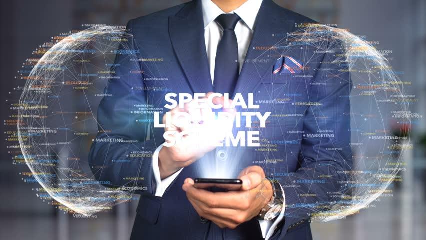 Businessman Hologram Concept Tech - SPECIAL LIQUIDITY SCHEME   Shutterstock HD Video #1020896719