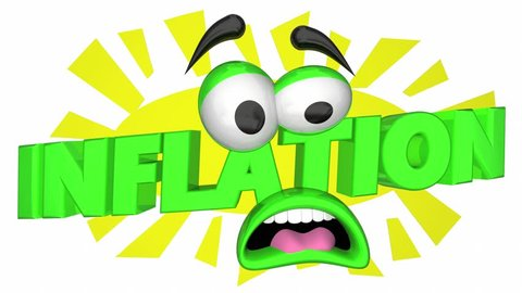 Inflation Higher Rising Costs Cartoon Face Fear 3d Animation