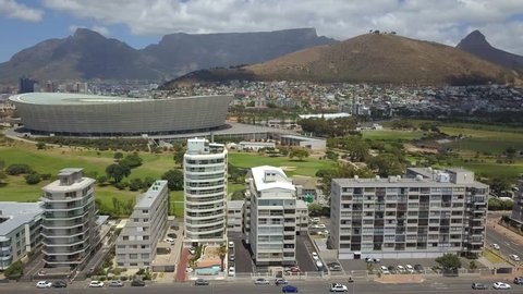 Aerial of Cape Town in South Africa as seen from the waterfront - overlooking Table Mountain and Lions Head