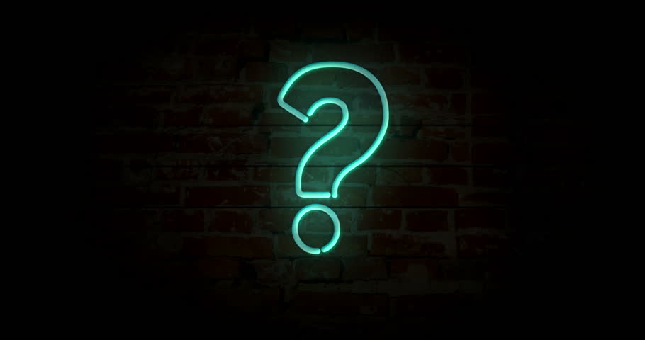 Question mark neon sign light on brick wall background. Glowing large illuminated advertisement in looped concept animation. Retro style.  | Shutterstock HD Video #1021084219