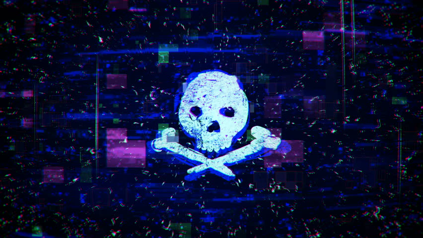 Skull shape with noise and glitching. Internet piracy and online security concept. Seamless loop animation | Shutterstock HD Video #1021086619