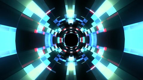 Flight in out neon lights cyber data vr tunnel motion graphics animation background seamless loop new quality futuristic cool nice beautiful 4k stock video footage