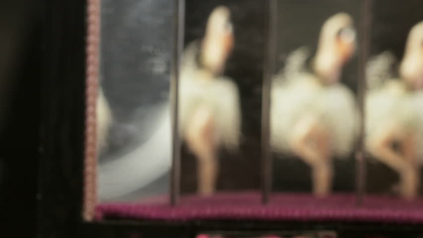 Vintage music box carillon with ballerina and mirrors | Shutterstock HD Video #1021104169