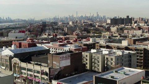 New york, new york / usa - november 1, 2018 : aerial of the highbridge  neighborhood in the west bronx near 179th street