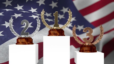 Digital composite of first place, second place and third place trophy against digital american flag background with confetti