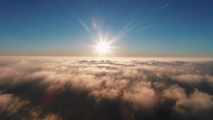 Morning flight over the city through the fog #1021159489
