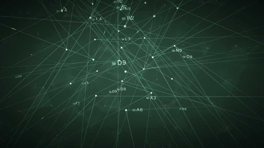 Connecting network.Technological futuristic net cyberspace.Geometrical lines dots with HUD elements digital code text.Plexus background.Green.Type 1 | Shutterstock HD Video #1021161499