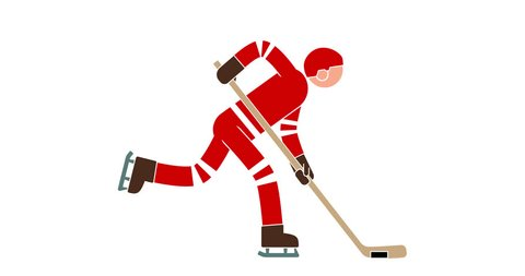 Hockey player colored animated icon with alpha channel. Pictogram sport people.