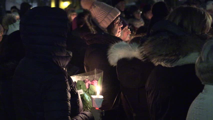 Toronto, Ontario, Canada December 2018 Candlelight vigil for teen high school student murdered in Mississauga Canada #1021219969