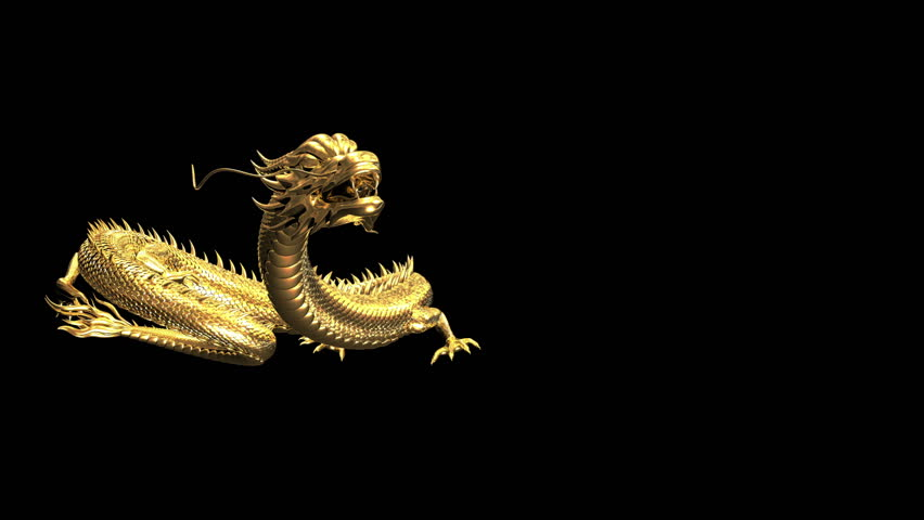 Gold chinese dragon pose animation with 3D rendering. | Shutterstock HD Video #1021257079