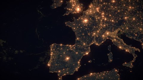 Zoom to France. The Night View of City Lights. World Zoom Into France - Planet Earth. Political Borders of European Countries: Spain, Germany, Italy, Poland. The Biggest Cities: Paris, Marseille, Lyon