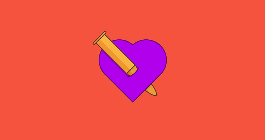 Animation concept the bullet hurts the heart motion background. Heart icon with bullet creative idea. Valentines day love symbol design. 4k footage video | Shutterstock HD Video #1021398889
