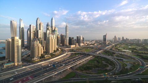 4K Timelapse - Aerial view of cityscape and skyline at sunrise in Marina.Dubai.UAE