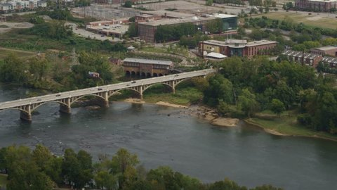 South Carolina Columbia Aerial Birdseye view of Congaree River panning to cityscape 10/17