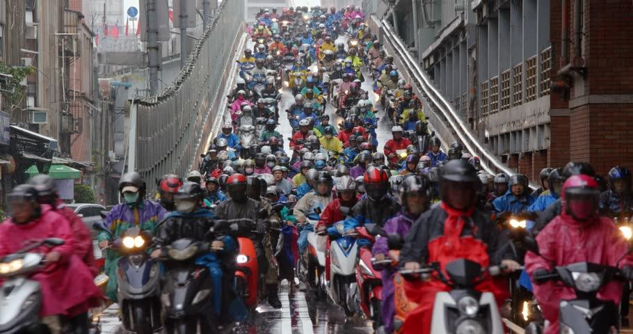 Dihua Street, Taipei city, 26 December 2018:- Crowded of scooter in taipei city