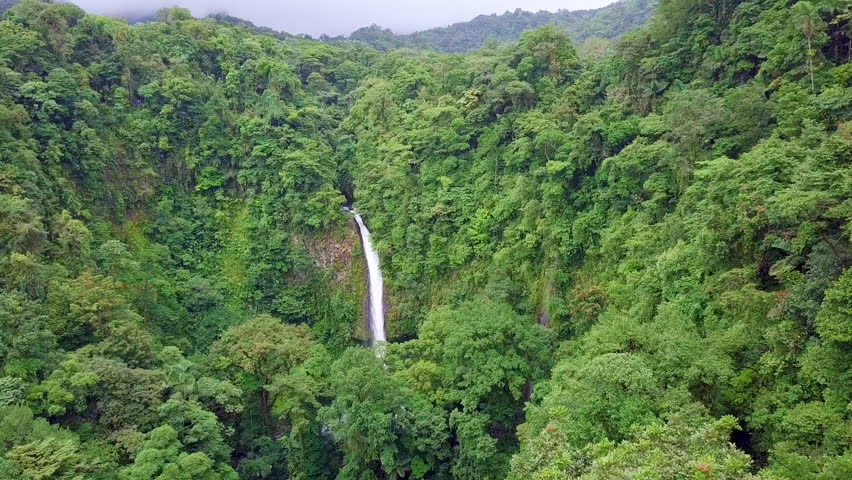 Aerial view of the landmark La Fortuna Waterfall in the Costa Rica rainforest