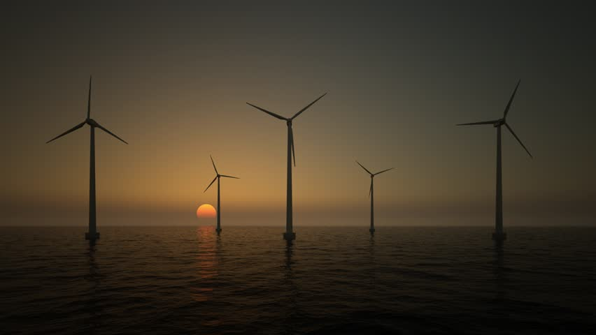 wind turbines on the rising sun background