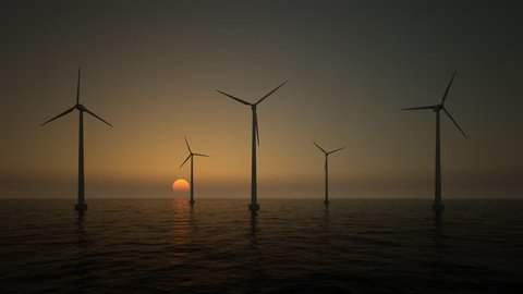 wind turbines on the rising sun background