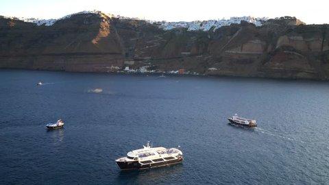 Island of Santorini, Greece aka Thira. City of Fira on cliffs above the Aegean Sea