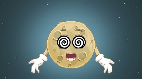 Cartoon Cute Moon Hypnosis with Face Animation with Alpha Matte