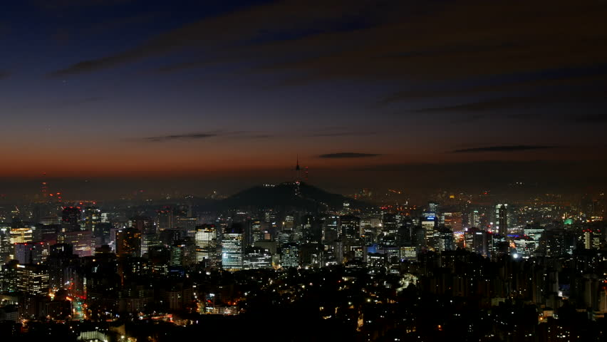 Time Lapse Seoul City Skyline at Sunrise and N Seoul Tower | Shutterstock HD Video #1021840999