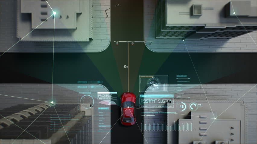 Autonomous driving car connect traffic information IoT, User interface in crossroad, top view, 4k animation. | Shutterstock HD Video #1021965979
