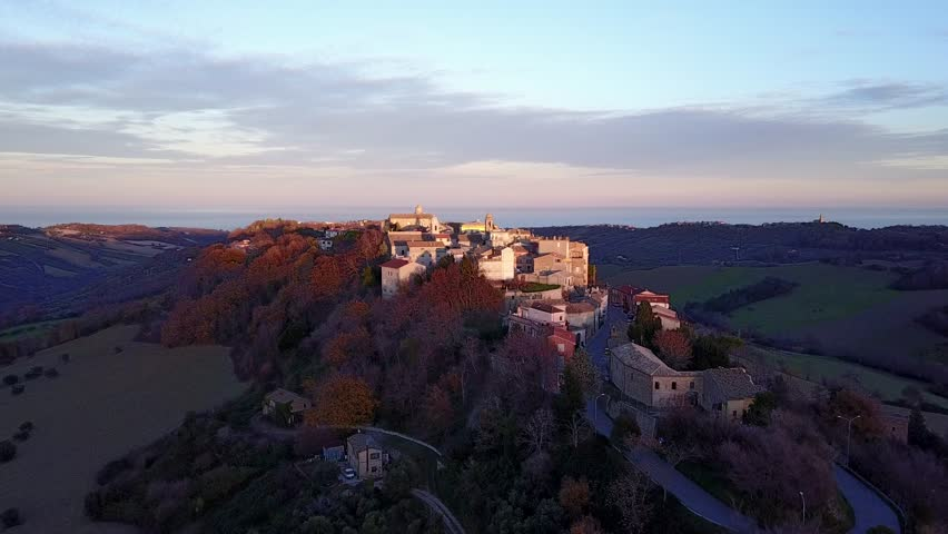 AERIAL: Cinematic view of Lapedona, a small village on the Adriatic coast in the Marche region, Italy. | Shutterstock HD Video #1021971469