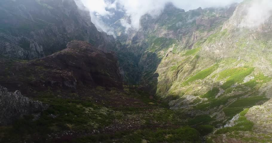 Mountains from the drone - Madeira island   Shutterstock HD Video #1021976599