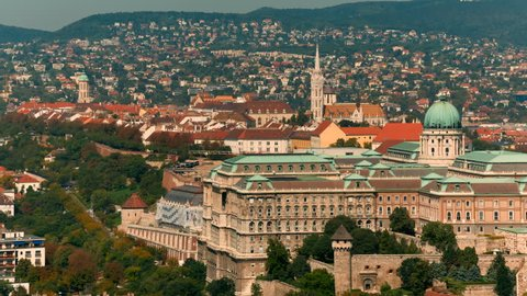 Wide shot of Buda Castle, in Budapest, Hungary. Built in 1265, it was used as a palace complex of the Hungarian kings