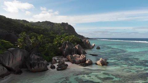 Aerial view of Anse Source D'Argent, La Digue, Seychelles.