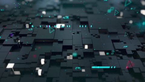 Seamless loop: 3d Digital technology concept. Black cubes with turquoise segments symbolize data block.