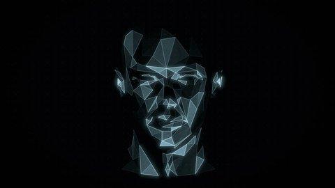 Head Hologram. Virtual Reality Avatar. Artificial Intelligence. Futuristic Interface. 3D Polygonal Mesh. Seamless Loop.
