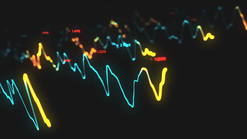 Animation growth of abstract charts with changing values of check points on dark background. Animation of seamless loop.   Shutterstock HD Video #1022110279