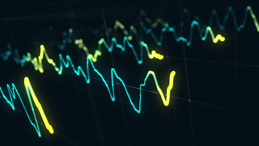 Animation growth of abstract charts with changing values of check points on dark background. Animation of seamless loop.   Shutterstock HD Video #1022110489