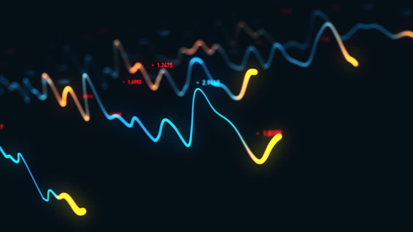 Animation growth of abstract charts with changing values of check points on dark background. Animation of seamless loop.   Shutterstock HD Video #1022111149
