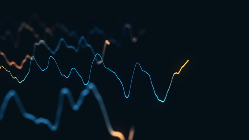 Animation growth of abstract charts with changing values of check points on dark background. Animation of seamless loop.   Shutterstock HD Video #1022111179