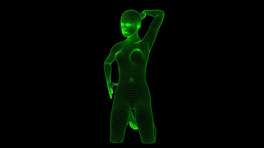 4K Futuristic Wireframe Android AI Woman Sexy Pose Seamless Loop   Shutterstock HD Video #1022138899