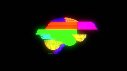 Human brain on glitch display colorful seamless animation background new quality health, technology, medicine. motion graphics 4k stock video footage