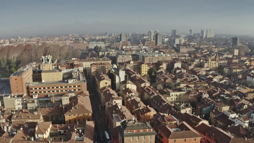 Aerial view of the northern part of Bologna in the morning, Italy | Shutterstock HD Video #1022186869