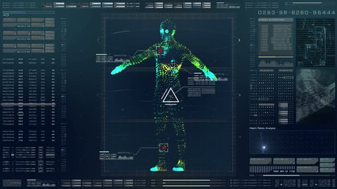Futuristic motion element user interface information technology virtual biomedical holographic human body scan diagnostic with data and telemetry head up display for background computer desktop screen