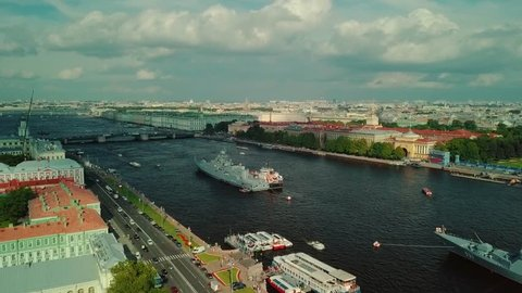Aerial shot of the Neva river and warships in St.Petersburg, Russia.